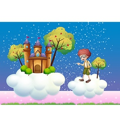 Clouds with a boy and a castle vector image vector image