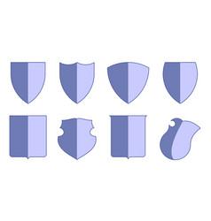 heraldic escutcheons for coat of arms set shield vector image