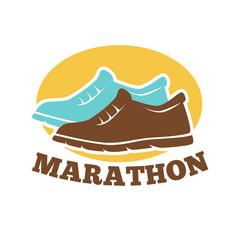 marathon competition promotional emblem isolated vector image