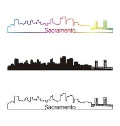 Sacramento skyline linear style with rainbow vector image