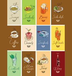 set of business cards with different dishes vector image vector image
