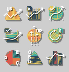 set of diagrams and charts for business vector image