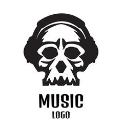 Sound studio logo Music Skull logo vector image