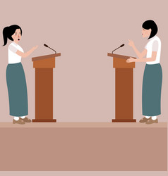 two high school girl debate on stage podium public vector image