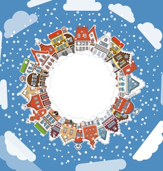 Vintage buildings with snowfall vector image