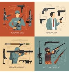 Weapons Guns 2x2 Design Concept vector image vector image