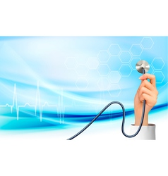 Background with hand holding a stethoscope vector image vector image