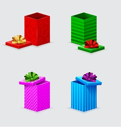 four gift boxes and covers with bows vector image vector image