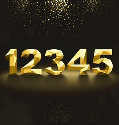 Golden Lowpoly Numbers from 1 to 5 vector image vector image