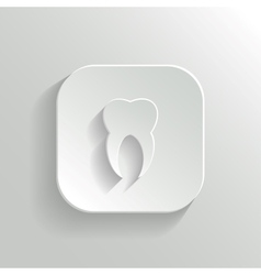 Tooth icon - white app button vector image vector image