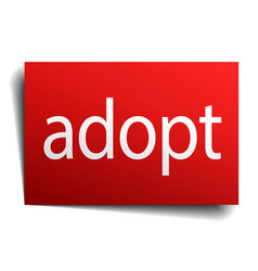 Adopt red paper sign isolated on white vector