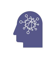 Ai concept logo head and gear logo vector