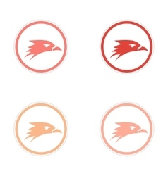 Assembly stickers eagle head logo vector