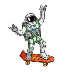 Astronaut spaceman ride on skateboard vector