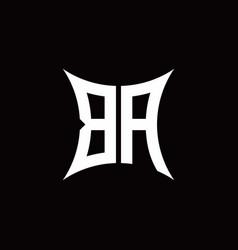 Ba monogram logo with sharped shape design vector