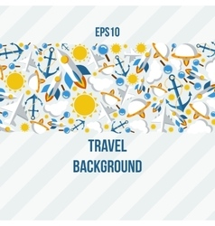 Background of the symbols of travel and weather vector image