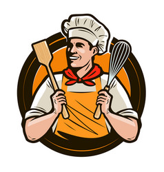 Bakery bakeshop logo or label happy cook holds a vector