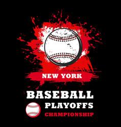 baseball sport game championship poster with ball vector image