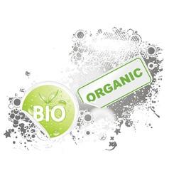 Bio stickers with grunge background vector