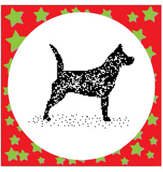 Black 8-bit dog standing isolated vector