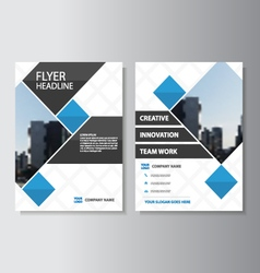Blue square corporate Leaflet Brochure Flyer set vector