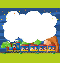 border template with kids on the train vector image