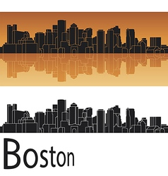 Boston skyline in orange background vector image
