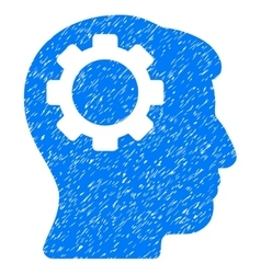 Brain gear grainy texture icon vector