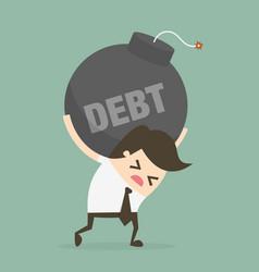 businessman bearing debt bomb vector image