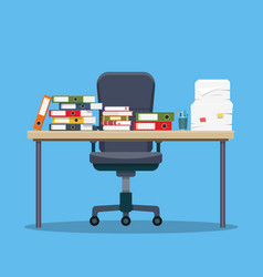 Busy cluttered office table vector