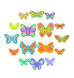 butterfly fairy icons set cartoon style vector image