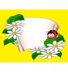 card with daisies and ladybug vector image