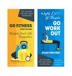 cartoon fitness sport banner card vertical set vector image