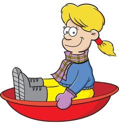Cartoon girl on a snow sled vector image