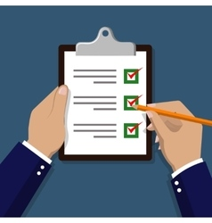Checklist with hand Check items on paper vector