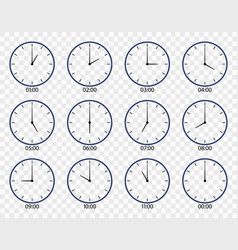 Clock icon face watch on wall set different vector