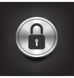 Closed lock icon on silver button vector image