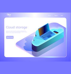 Cloud data storage abstract concept isometric web vector