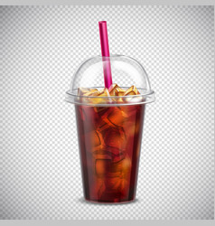 Cola with ice realistic transparent vector