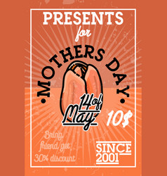 Color vintage mothers day banner vector