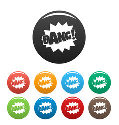 Comic boom bang icons set color vector
