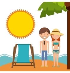 Couple cartoon and beach icon Summer design vector image