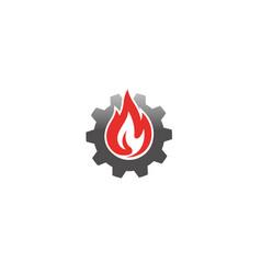 creative gear fire logo symbol vector image