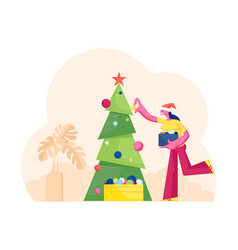 Cute smiling woman in santa claus hat holding box vector