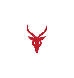 Deer head and hind face with big horns for logo vector