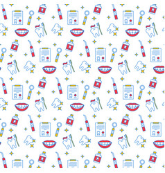 dental care seamless color pattern vector image