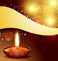Diwali diya with fireworks vector