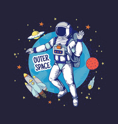 Doodle astronaut hand drawn space boys poster vector