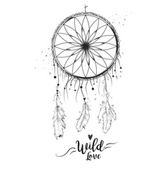 Dreamcatcher with bird feather beads lace amp vector
