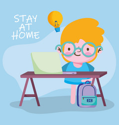education online student boy studying with vector image